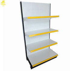 9010 White Color Supermarket Steel Racks Punched Buckle Back Panel