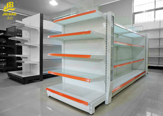 White Color Supermarket Steel Racks Glass Shelf Advertising Upright