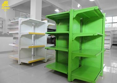 Green Color Fashionable Supermarket Steel Racks For Promotion Display 1300mm High