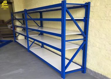 Medium Duty Long Span Racking System Cold Rolled Steels Standard Size Four Levels