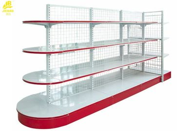 0.4M Depth Semicircle Style Gondola Shelving With Wire Grid Red Colour Double Side