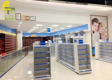 China Center Side Pharmacy Display Racks White 1.4M High 0.32M Depth 30KG/Layer supplier