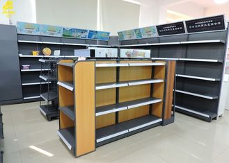 High End Boutique Shop Metal Frame Wood Shelves , Light Duty Metal And Wood Shelving Unit