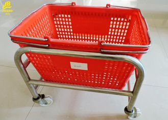 Portable Grocery Basket With Wheels , Durable Grocery Store Shopping Baskets