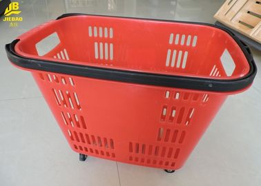 China 33L Shopping Basket With Wheels And Handle PU Wheels Red Colour Can Custom Logo supplier