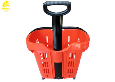 Two PU Wheels Hand Held Shopping Baskets 40L/50L Volume Wear Resistant