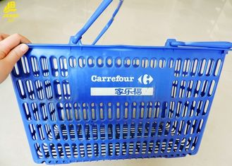 PVC Plastic Shopping Baskets With Handles , Customized Logo Grocery Store Hand Baskets