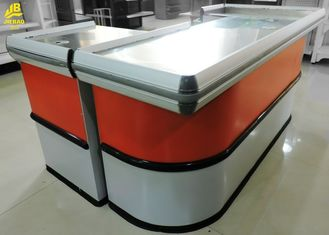 China Steel Inside Supermarket Checkout Counter Craftsmanship Custom Color Stainless Steel supplier