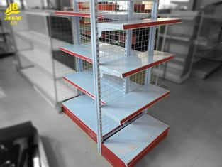 Classical Gondola Racking System With Grid Wire 40mm Step Red Colour 1.5M High