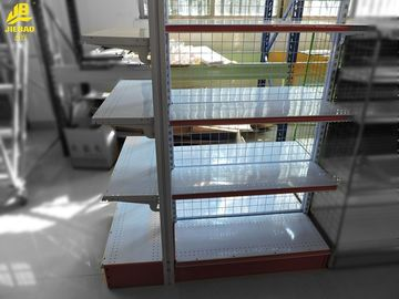 23KG/Layer Wire Gondola Shelving 25mmx25mm Grid Cream White Colour Double Side