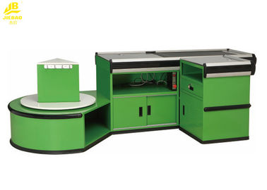 Electric Hypermarket Supermarket Checkout Counter With Package Table Green Color