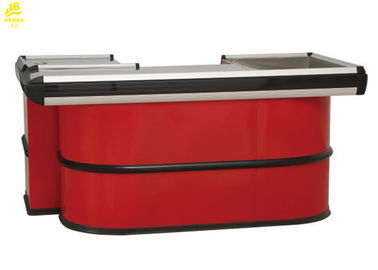Red Commercial Checkout Counters , Aluminum Alloy Seal Cashier Checkout Counter