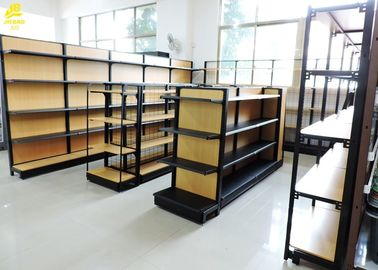 China 630/900mm Length Wood And Metal Shelves Beech Wood Grain Colour Wire Mesh supplier
