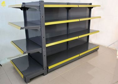 Double Side Convenience Store Shelving With Price Tags 2800mm L Gray Color