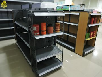 Perforated Backing Gondola Store Shelving , Double Sided Convenience Store Display Racks