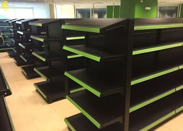 Black Colour Supermarket Gondola Shelves Perforated Middle Back Panel 1.8M High