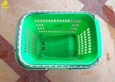 PP Materials 50L Hand Held Shopping Baskets With Handle PU Wheels Light Green Colour