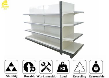 White Color Supermarket Steel Racks With Buckle Back Panel 80x30x2.0mm