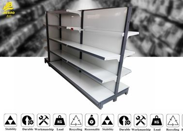 White Color Supermarket Steel Racks With Middle Back Panel 60 Kg / Layer