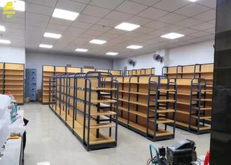 Modern Iron And Wood Shelving Unit , Retail Open Wood And Metal Bookshelves