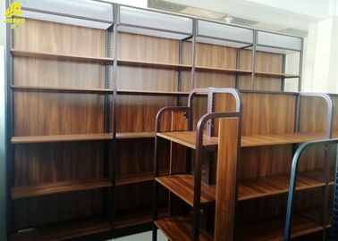 Fashionable Industrial Wood And Metal Bookcase / Wood Metal Bookshelf Display