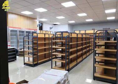 OEM Metal And Wood Storage Shelves , Yellow Metal Shelving With Wood Shelves