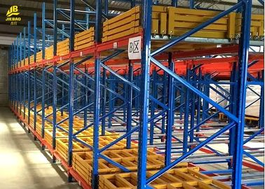 China Warehouse Push Back Racks , Pallet Flow Racking System With RAL Color supplier
