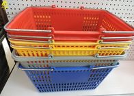 Plastic Hand Held Shopping Baskets Four Colors Optional Steel Ears