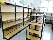 China Light Duty Metal And Wood Storage Shelves , Durable Metal Shelving With Wood Shelves company