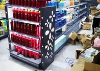 Gray Grocery Display Racks , Laser Engraving Light Box Personal Care Products Glass Display Shelf