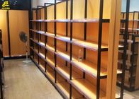 25MM MDF Layer Wood And Metal Shelves Black Steel Frames 1.4M High Double Side