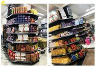 Gray Supermarket Steel Racks / Shop Corner Shelves Plain Buckle Back Panel 2.2M High Columns Around
