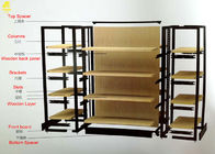 Wide Gondola Wood And Metal Shelves With Steel Frame Black Color 300mm/350mm