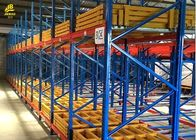 Warehouse Push Back Racks , Pallet Flow Racking System With RAL Color