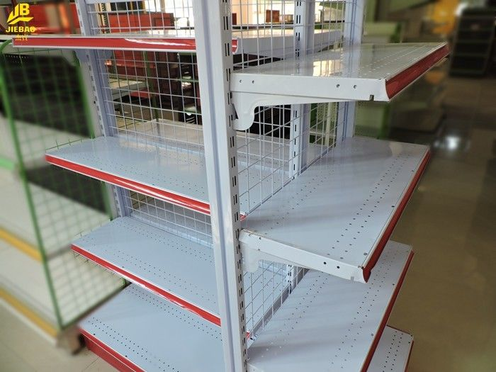 Red Color Classical Wire Gondola Shelving 4 Layer Combination Cold ...