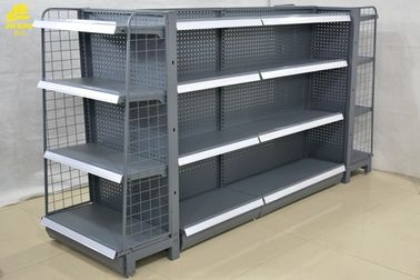 China Double Side Q195 Steel Grocery Store Shelving Racks Middle Back Panel 0.5MM Gray factory