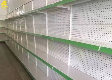 China Holes Middle Back Panel Grocery Store Display Shelves Cream White Colour 1.4M High factory