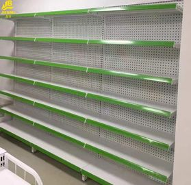 China Perforated Backing Grocery Display Racks With Light Box Cabinets Green Color factory