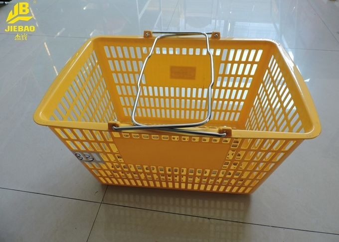 PP Material Hand Held Shopping Baskets Optional Color Steel Handle