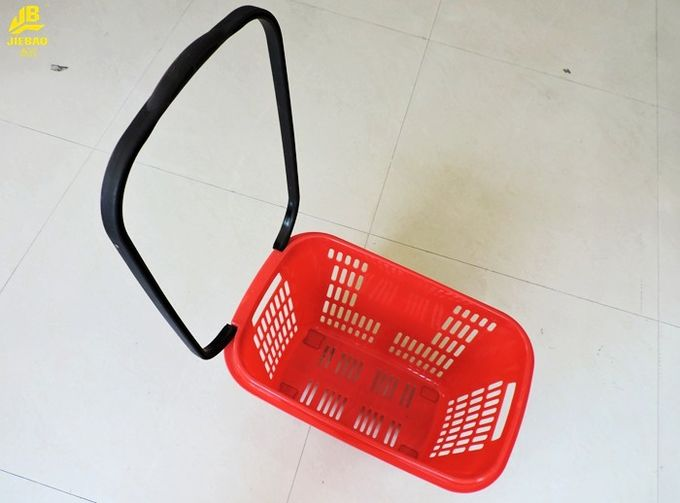 33L Shopping Basket With Wheels And Handle PU Wheels Red Colour Can Custom Logo